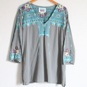 Johnny Was Biya Embroidered Floral Top Blouse L